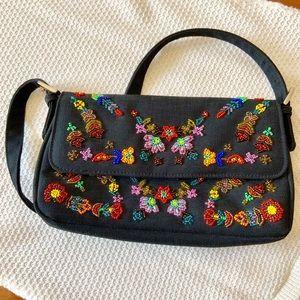 Vintage Black Beaded Shoulder Bag